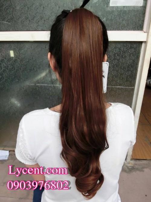 Tóc Giả Nữ Cột Dài Xoăn đuôi Nâu Socola